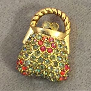 Jewelry - Gold and rhinestones Purse shaped pin